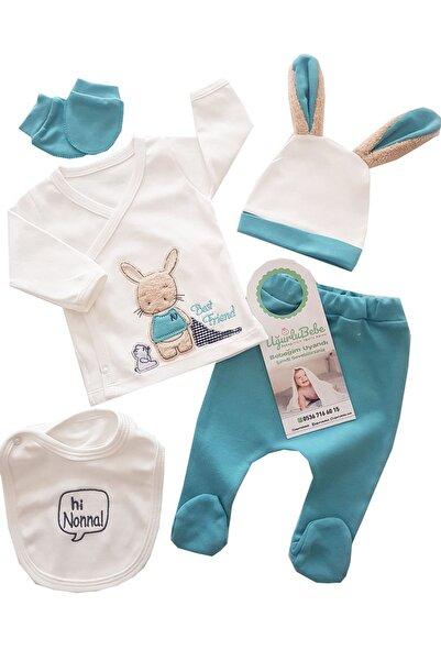 Nonna Baby Erkek Bebek turkuaz Uzun Kulak Tavşan 5 Parça Hastane Çıkış Seti