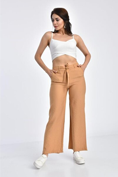 Modkofoni Kadın Kamel Belden Lastikli Kuşaklı Bol Paça  Keten Pantolon