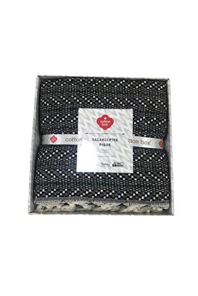 Cotton Box Pique Çift Kişilik Saçaklı Pike Siyah Krem