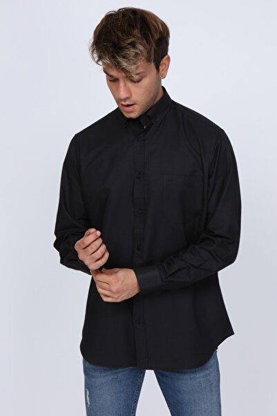 Abbate Club Cepli Regular Fit Siyah Erkek Gömlek