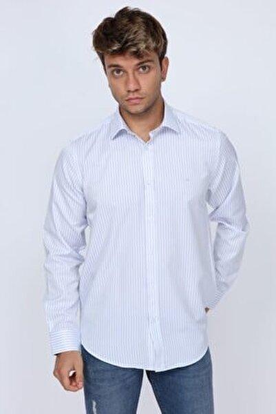 Club Açık Mavi Çizgili Slim Fit Erkek Gömlek
