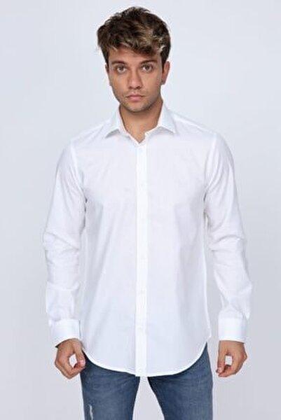 Mikro Kumaş Detaylı Beyaz Slim Fit Erkek Gömlek