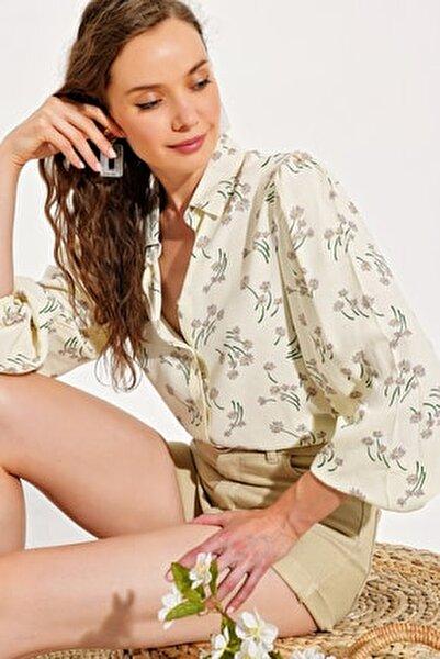Kadın Ekru Çiçek Desenli Kolu Lastikli Dokuma Gömlek DNZ-31072-RW