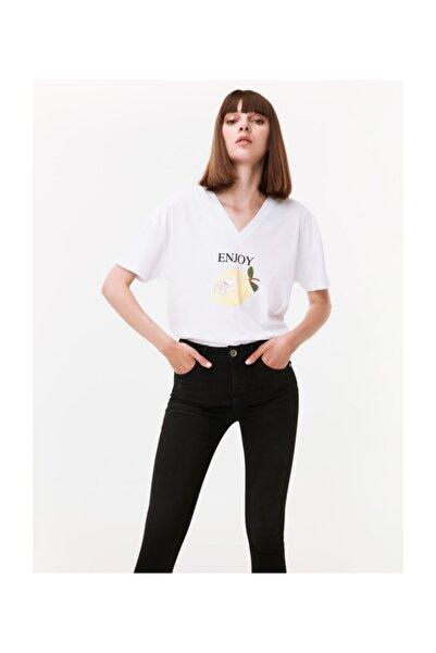 Twist Kadın Beyaz Slogan Baskılı Tshirt TW6190070125002
