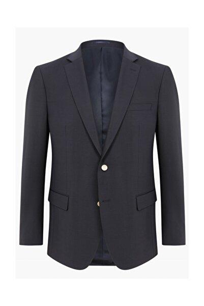 hateko Erkek Klasik Kesim 4 Drop Koyu Lacivert Yün Blazer Ceket