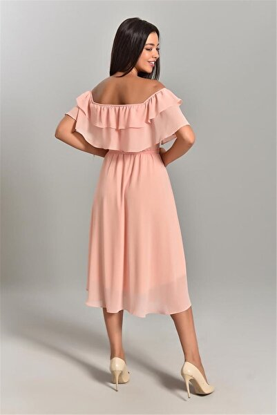 MACFLY Kadın Pembe Carmen Yaka Şifon Elbise