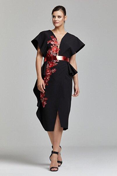 RENGIN Kadın Siyah Boydan Güpür Detaylı Elbise