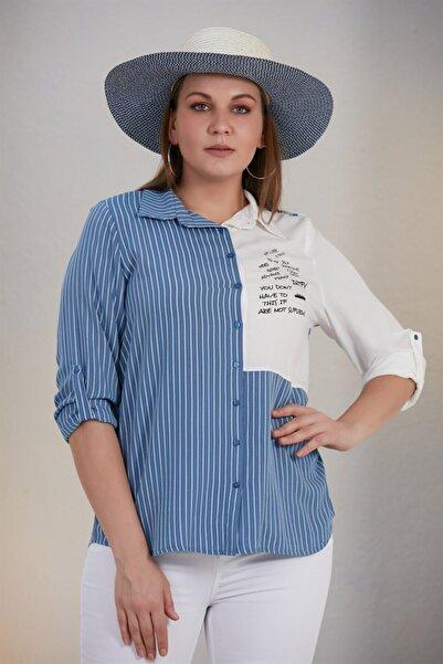 RMG Kadın Çizgili Baskı Detaylı Büyük Beden Indigo Gömlek