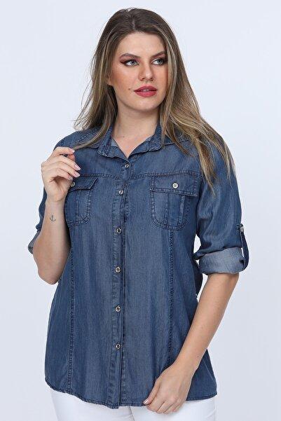 Gül Moda Kadın Mavi Tensel Kot Gömlek Cepli G015-1