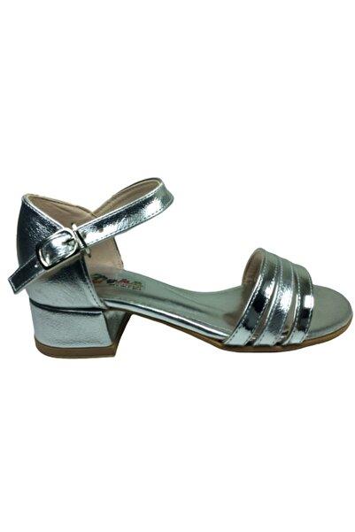 ÖYK�� BEBE Tıpış Tıpış Filet Gümüş Rugan Parlak Topuklu Kız Çocuk Ayakkabı Ayarlanabilir Geçmeli Tokalı