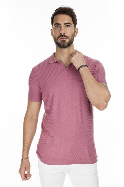 Buratti Erkek Pembe Triko Polo Yaka Slim Fit Günlük T Shirt Abk61005Lns