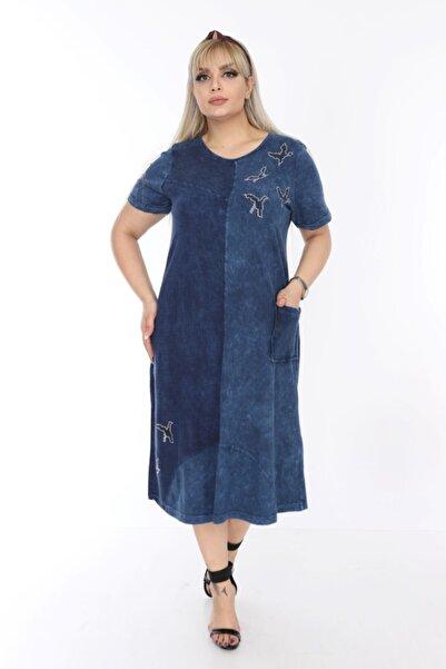 Kadın Mavi Yıkamalı Viskon Elbise PV0015