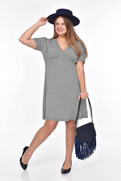 MJORA Kazayağı Desen V Yaka Viskon Elbise