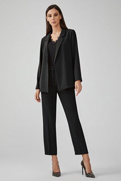 Gusto Kadın Siyah Beli Kemerli Yüksek Bel Krep Dokulu Pantolon 20KG009121
