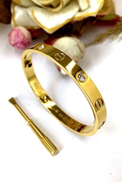 Bin1Gecem Takı Vidalı Cartier Zirkon Taşlı Çelik Bayan Bileklik Bilezik 18 Cm