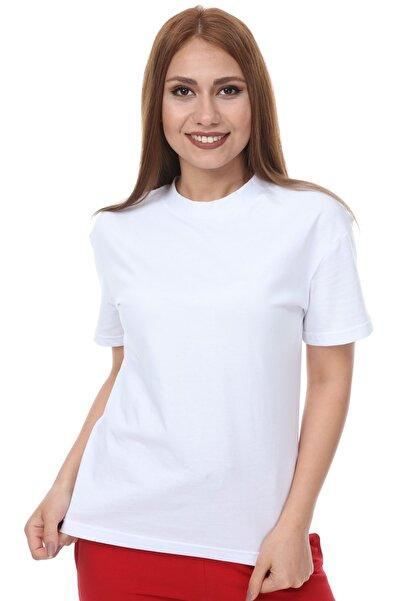 Dik Yaka Basic Örme T-shirt - Beyaz
