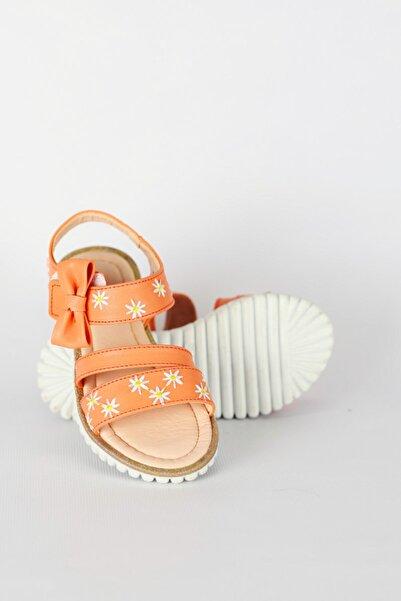 Vicco Mercan Renkli Çiçek Desenli Kurdelalı Cırtlı Kız Çocuk Sandalet