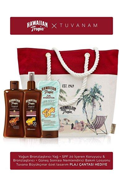 Hawaiian Tropic Bronzlaştırıcı + Spf 20 Koruyucu&Bronzlaştırıcı + Güneş Sonrası Losyon + Tuvanam Plaj Çantası Hediye