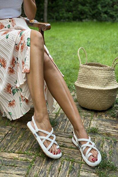 İnan Ayakkabı Beyaz Kadın Sandalet INA5500KDR