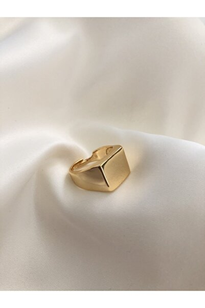 The Y Jewelry Gold Kare Şövalye Yüzük-ayarlanabilir