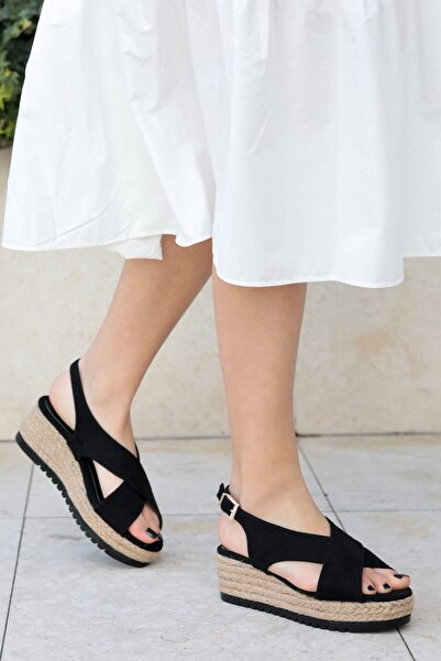 Mio Gusto Marta Siyah Dolgu Tabanlı Sandalet
