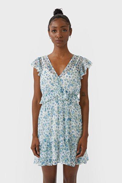 Kadın Ekru Volanlı Kısa Elbise 02394397