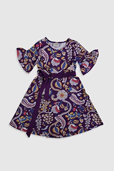 Kız Çocuk Bordo Baskılı Lqv Elbise