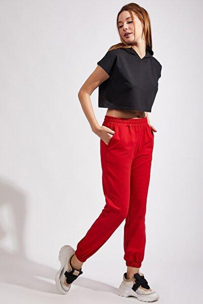 Kadın Kırmızı Cepli Eşofman Altı Cr00327