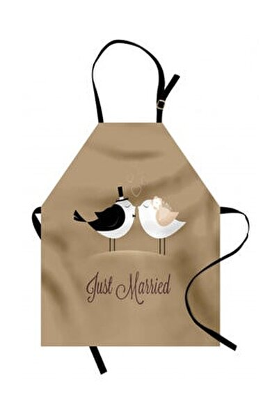 Düğün Mutfak Önlüğü Yeni Evlendik Yazılı Sevgili Kuş Çiftler