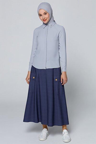 Armine Yaka Detaylı Gömlek Gri Mavi 9y3614