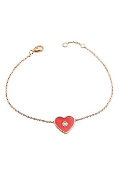 Şakar Gold Pırlanta Kırmızı Mineli Kalp 18 Ayar Bileklik