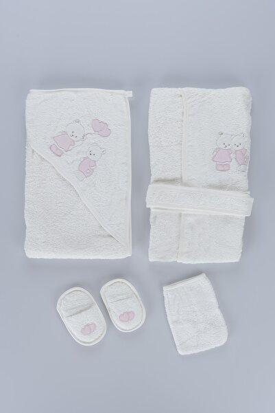 Bebitof Kız Bebek Bornoz Seti 5li 3297
