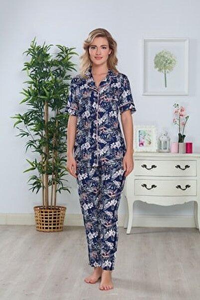 Kadın Lacivert Önden Düğmeli Modal Dokuma Yazlık Pijama Takımı