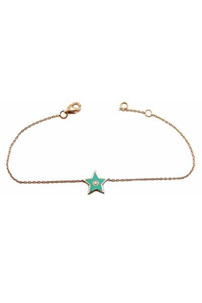 Şakar Gold Pırlanta Yeşil Mineli Yıldız 18 Ayar Bileklik
