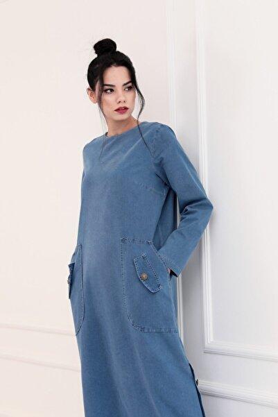 PİENNAR Kadın Mavi Kot Elbise