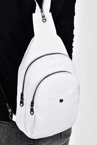 Bagzone Beyaz Kadın  Trok Detaylı İki Bölmeli Bel Çantası 10RZ3006