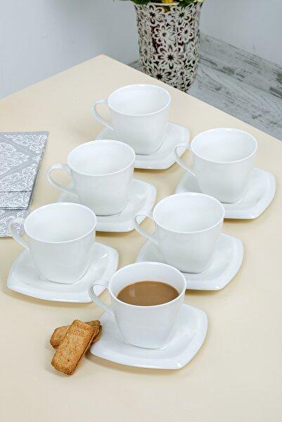 MHK Collection L��x Porselen Düz Beyaz 6 Kişilik Çay, Nescafe Fincan Takımı