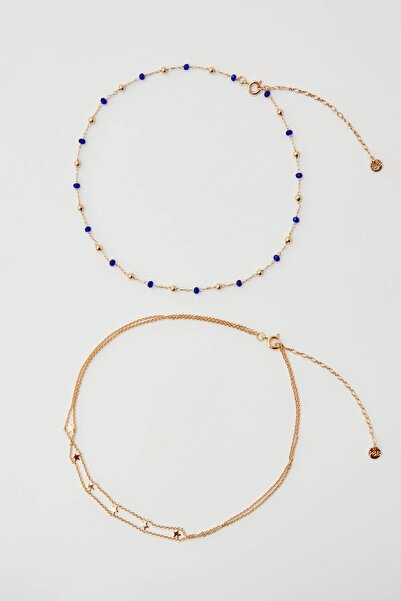 Pull & Bear Kadın Altın Rengi Mavi Charm Uçlu Altın Rengi Kolye Seti 09996319
