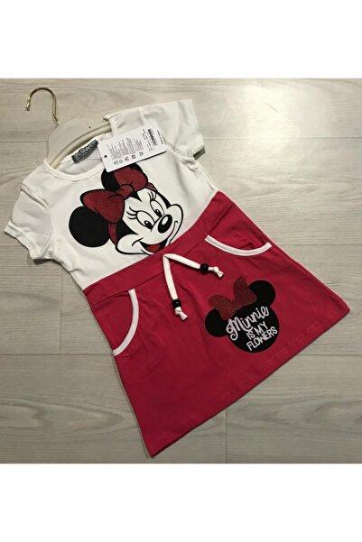 Flower Minnie Mouse Kız Çocuk Elbise Cepli Kız Çocuk Elbisesi Hediyelik