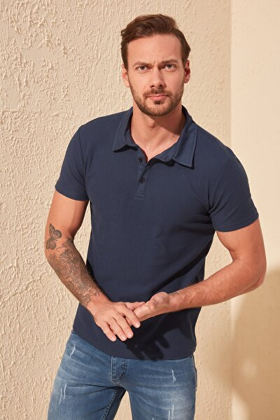 TRENDYOL MAN Lacivert Erkek Slim Fit Dokulu Polo Yaka T-Shirt TMNSS20PO0002
