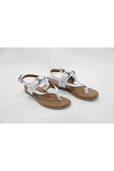 İnci Kadın Beyaz Hakiki Deri Sandalet