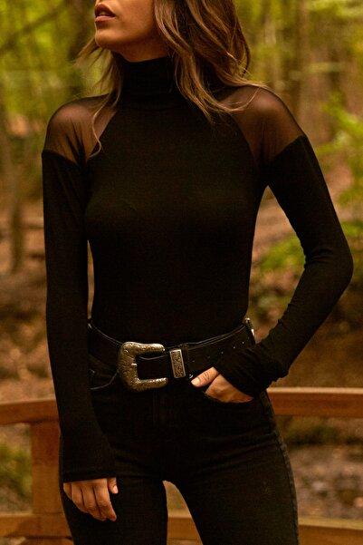 Kadın Siyah Tül Detaylı Balıkçı Bluz  9KXK2-41653-02