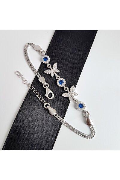 Gümüş Pazarım Safir Renkli Kelebek Gümüş Bileklik