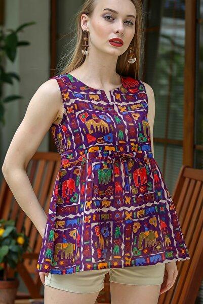 Kadın Mor Bohem Fil Baskılı Robadan Büzgülü Bluz M10010200BL96198
