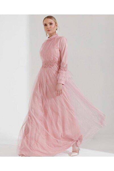 Kadın Pembe Kolu Tüllü Şık Tesettür Abiye Elbise
