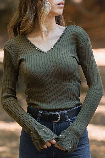 Kadın Haki  İnci Detaylı V Yaka Bluz 9KXK2-42126-09