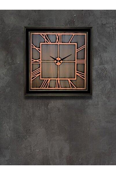 Büyük Bakır Kabartma Duvar Saati 70x70 Cm