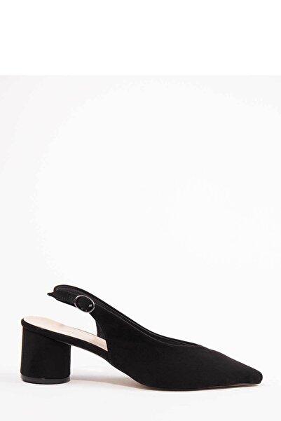 Oioi Siyah Süet Kadın Topuklu Ayakkabı 1003-119-0001_1100
