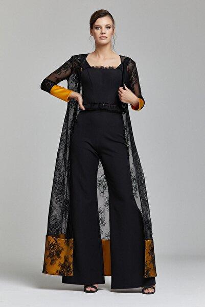 RENGIN Kadın Siyah Dantel Hırkalı Pantolon Bluz Takım