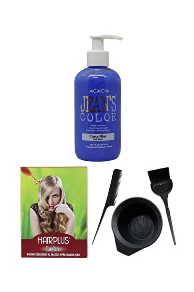 Acacia Saç Boyası Deli Mavi 250ml, Saç Açıcı Ve Fluweel Saç Boya Kabı Seti